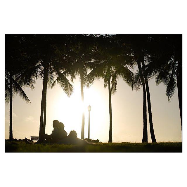 .まだ少し明るくて、いよいよサンセットっていう、この時間が個人的には好き。深呼吸して、ハワイの空気を思い切り感じて欲しい。.. @mak_ishii Produced by @la.chic.weddings